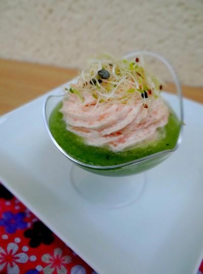 Mousse de saumon sur purée de concombre2