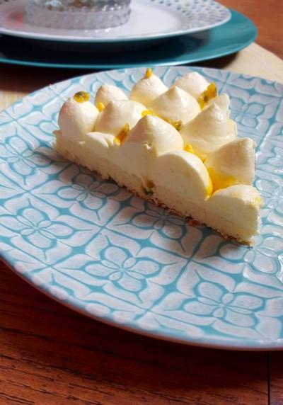 Cheesecake japonais, chantilly aux fruits de la passion