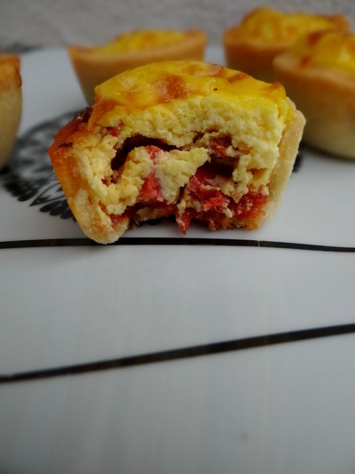 Mini tartelettes catalanes safran, chorizo et poivron grillé2